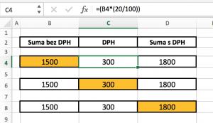 excel-dph-prepocet1-300x173 Vzorec pre výpočet DPH v MS Excel